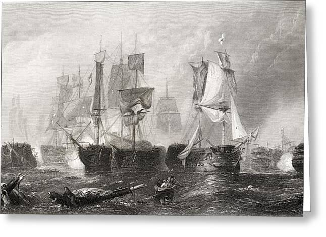 The Battle Of Trafalgar From The Greeting Card by Vintage Design Pics