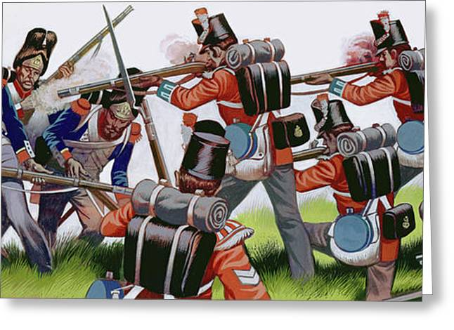 The Battle Of Waterloo  Gouache On Paper Greeting Card