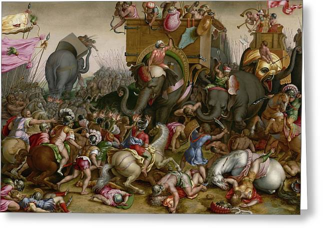 The Battle Of Zama Greeting Card by Cornelis Cort