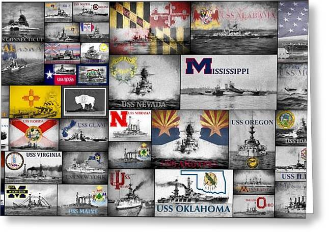 The Battleships Of All 50 States Greeting Card by JC Findley