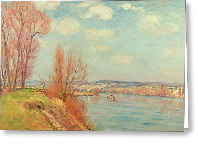 Guillaumin; Jean Baptiste Armand (1841-1927) Greeting Cards - The Bay and the River Greeting Card by Jean Baptiste Armand Guillaumin