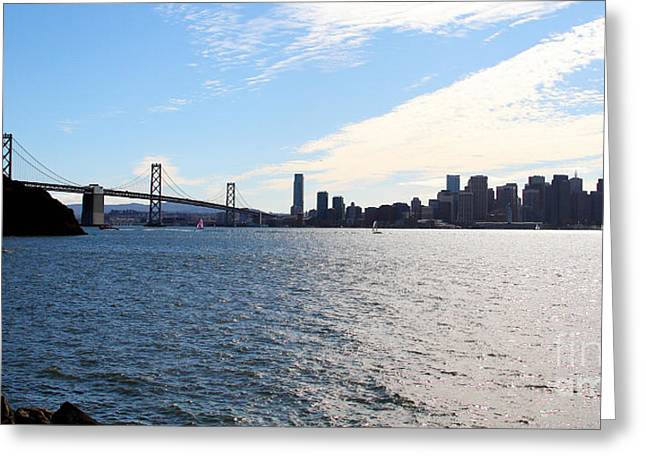 Downtown San Francisco Photographs Greeting Cards - The Bay Bridge and The San Francisco Skyline Viewed From Treasure Island . 7D7771 Greeting Card by Wingsdomain Art and Photography