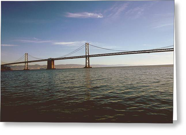 Greeting Card featuring the mixed media The Bay Bridge- By Linda Woods by Linda Woods