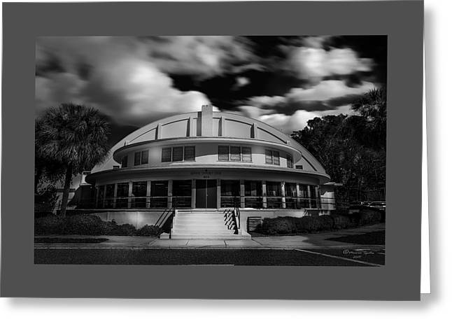 The Bay Front Community Center Bw Greeting Card by Marvin Spates