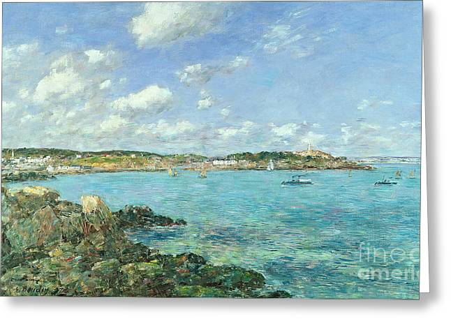 Pretty Scenes Greeting Cards - The Bay of Douarnenez Greeting Card by Eugene Louis Boudin