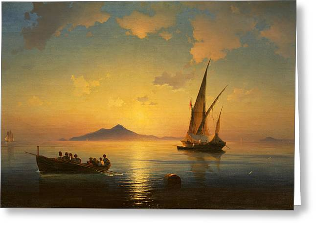 The Bay Of Naples Greeting Card by Ivan Aivazovsky