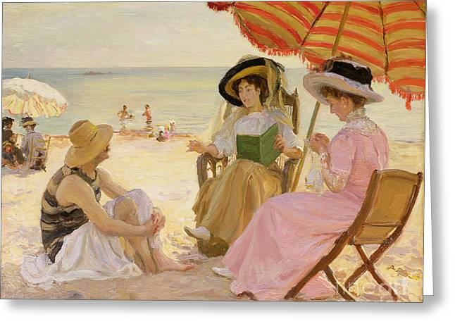 Ocean Shore Greeting Cards - The Beach Greeting Card by Alfred Victor Fournier