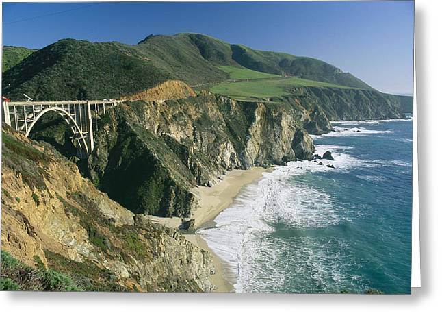 Recently Sold -  - Bixby Bridge Greeting Cards - The Beach And Shoreline Along Highway 1 Greeting Card by Phil Schermeister