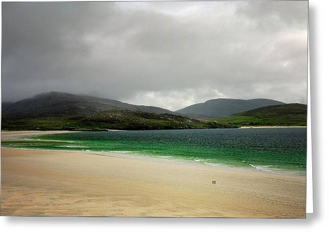 The Beach At Luskentyre, Isle Of Harris, Outer Hebrides, Scotland. Storm Clearing Greeting Card