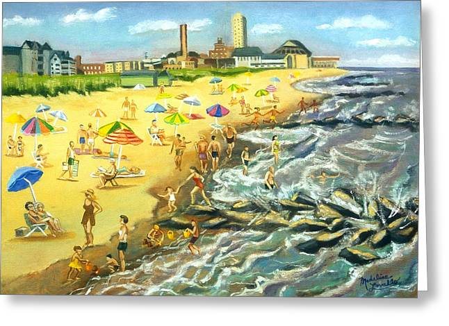 The Beach At Ocean Grove Greeting Card by Madeline  Lovallo