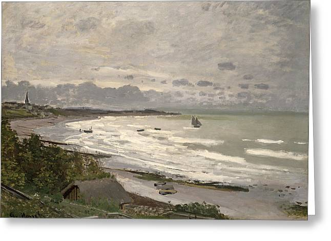 Boats On Water Greeting Cards - The Beach at Sainte Adresse Greeting Card by Claude Monet