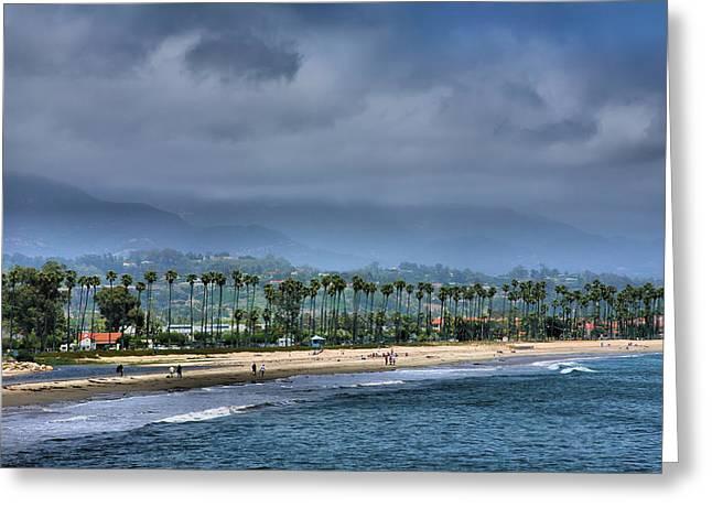 The Beach At Santa Barbara Greeting Card by Steven Ainsworth