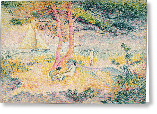 The Beach At St Clair Greeting Card by Henri-Edmond Cross
