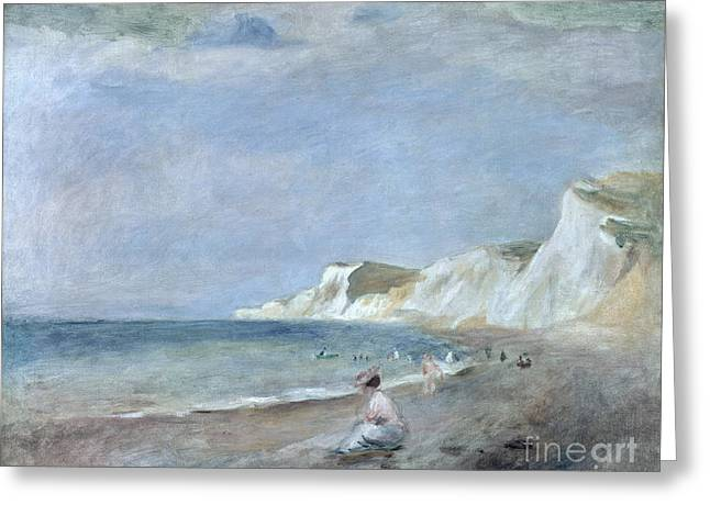 Curling Greeting Cards - The Beach at Varangeville Greeting Card by Renoir