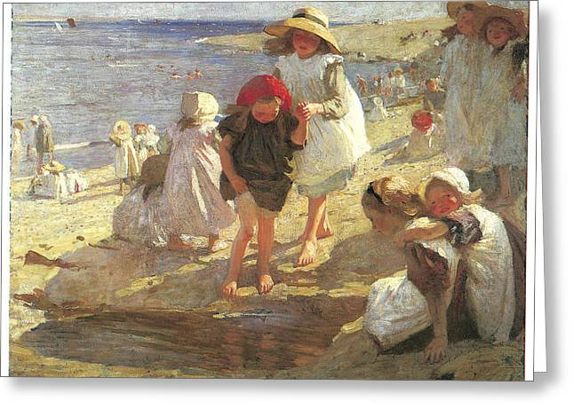 The Beach Greeting Card by Laura Knight