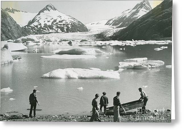 the beach of a small lake of melted glacial water by Portage Glacier Greeting Card by Celestial Images