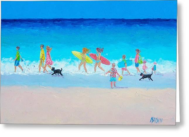 The Beach Parade Greeting Card by Jan Matson