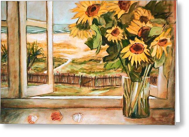 The Beach Sunflowers Greeting Card by Winsome Gunning