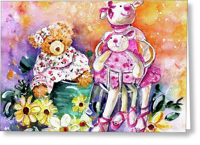 The Bear And The Ballerinas In York Greeting Card