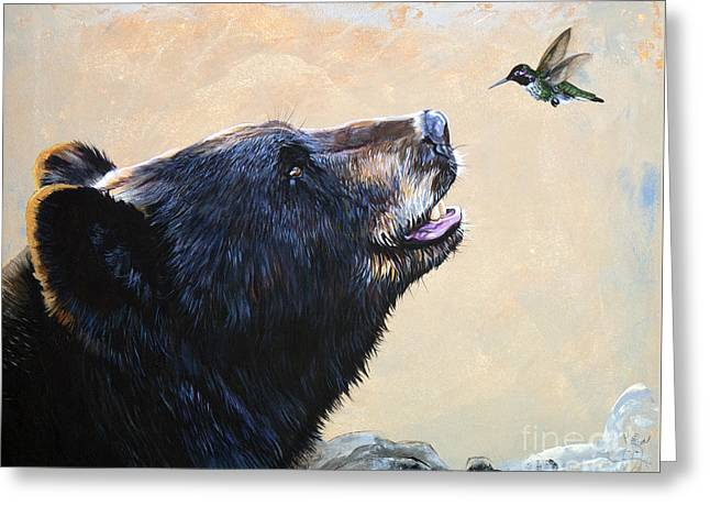 The Bear And The Hummingbird Greeting Card by J W Baker