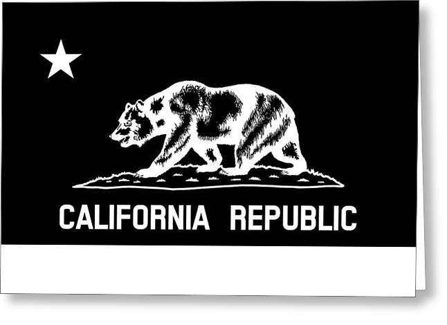 The Bear Flag - Black And White Greeting Card