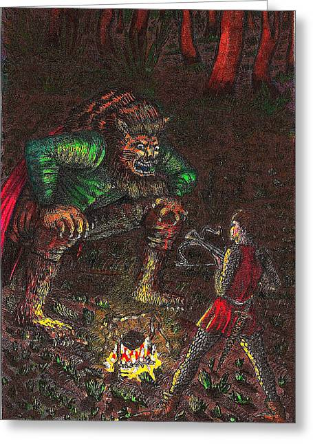 The Beast And Prince Meet Greeting Card