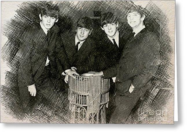 The Beatles Drawing Greeting Card by John Malone