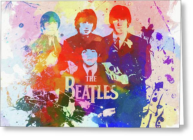 The Beatles Paint Splatter  Greeting Card by Dan Sproul