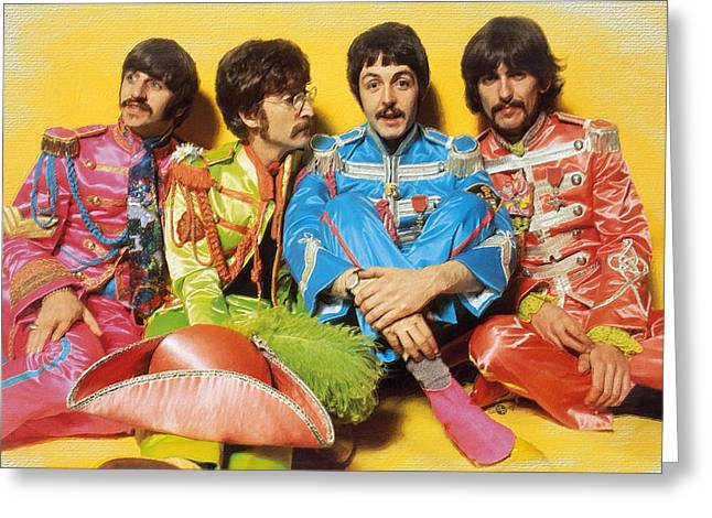 The Beatles Sgt. Pepper's Lonely Hearts Club Band Painting 1967 Color Greeting Card by Tony Rubino