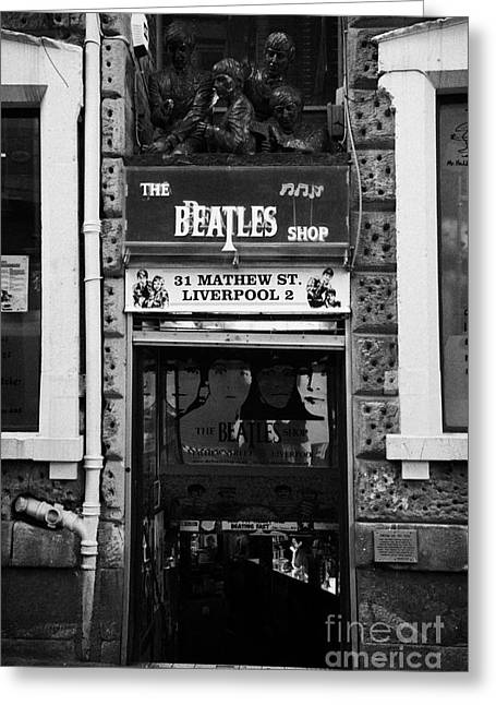 The Beatles Shop In Mathew Street In Liverpool City Centre Birthplace Of The Beatles Merseyside  Greeting Card by Joe Fox