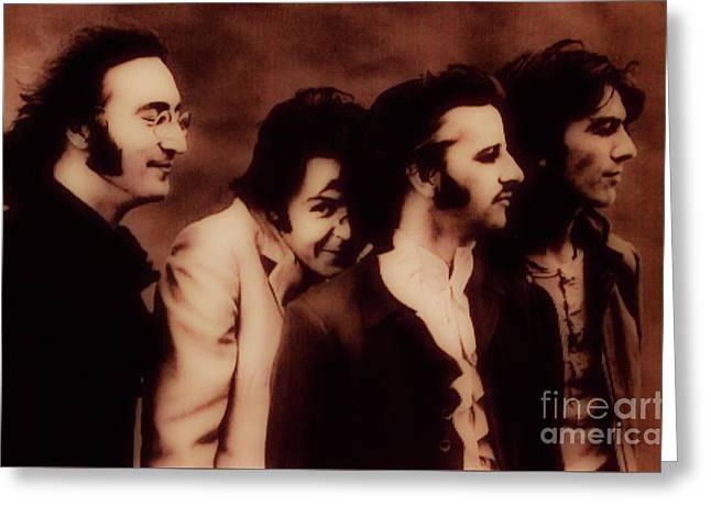 The Beatles - The Fab Four Greeting Card by Al Bourassa