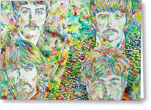 The Beatles - Watercolor Portrait.1 Greeting Card by Fabrizio Cassetta