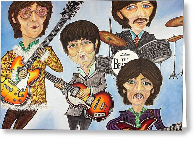 The Beatles Greeting Card by Nicolette Maw