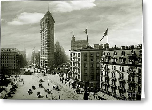 The Beautiful Flatiron Building Circa 1902 Greeting Card by Jon Neidert