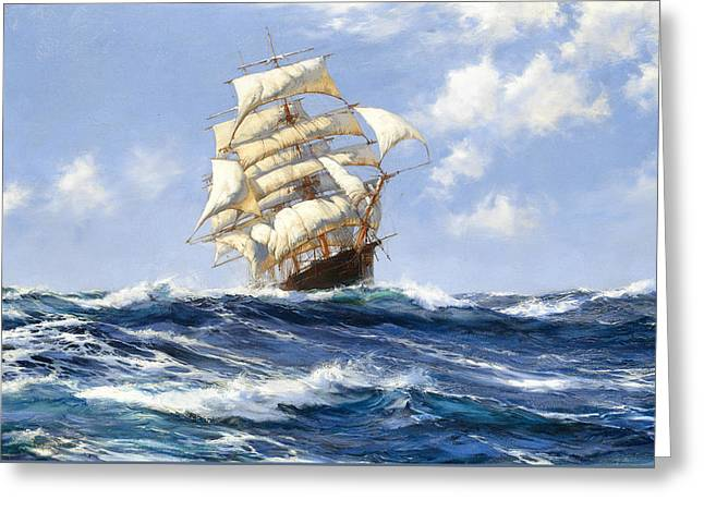 The Beautiful Melbourne Clipper Oberon Running For Home Before The Wind Greeting Card