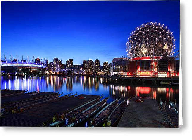 The Beautiful Vancouver Downtown And Science World Greeting Card