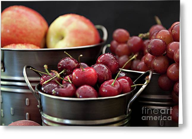 The Beauty Of Fresh Fruit Greeting Card by Sherry Hallemeier