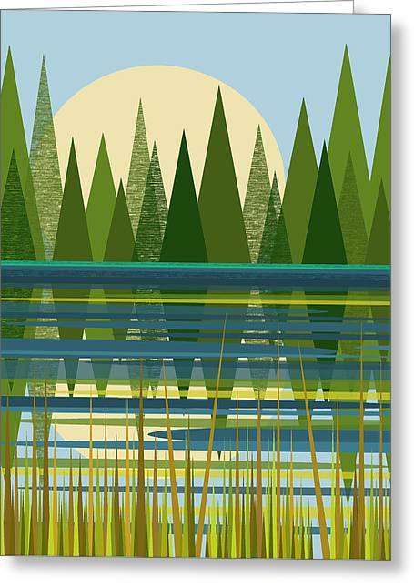 The Beaver Pond Greeting Card by Val Arie