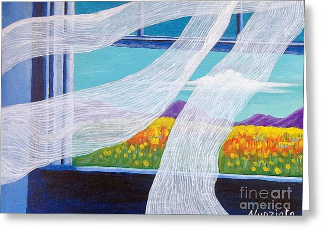 The Bedroom Window Greeting Card by Nancy McNamer