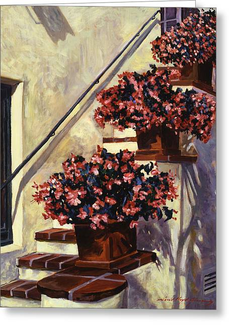 The Begonia Stairs Greeting Card by David Lloyd Glover
