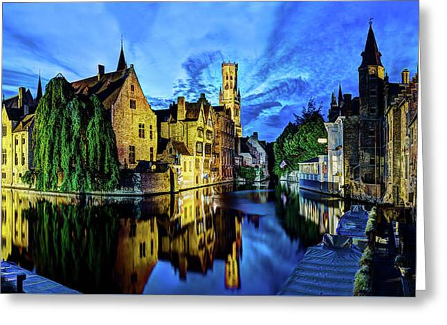The Belfort Of Bruges At Dusk Greeting Card