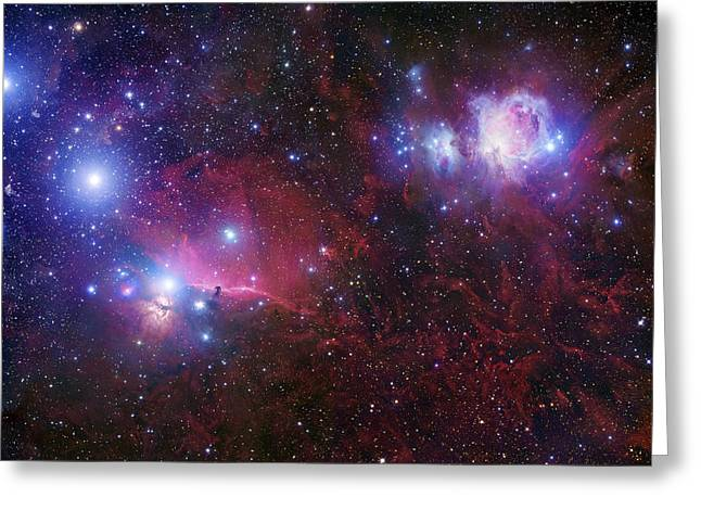 Shine Greeting Cards - The Belt Stars Of Orion Greeting Card by Robert Gendler