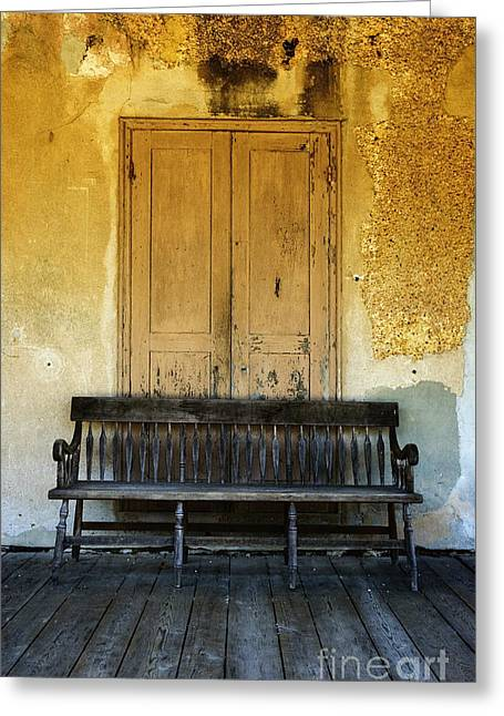 The Bench I Greeting Card by Debra Fedchin
