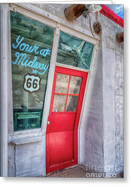 The Bent Door On Historic Route 66 Greeting Card
