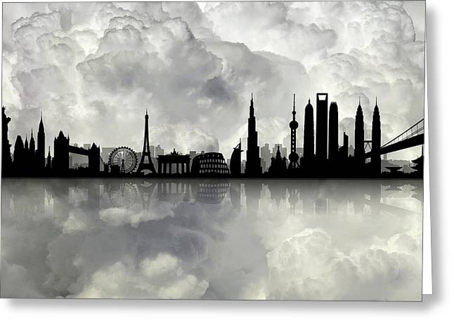 The Best City Skyline Greeting Card by Lilia D
