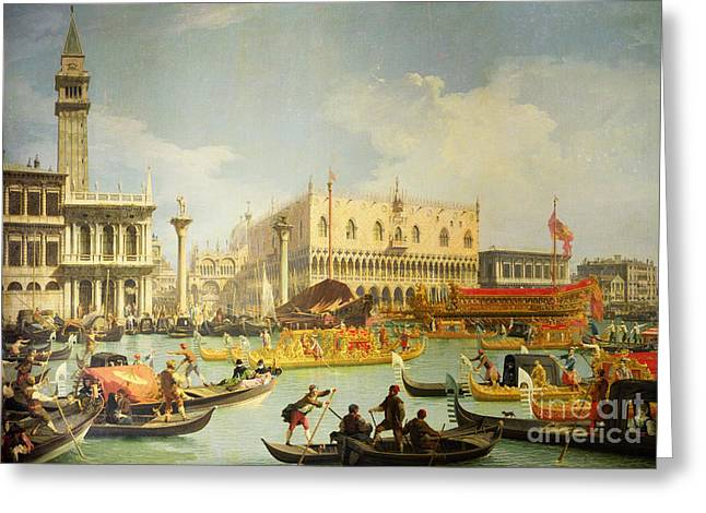 The Betrothal Of The Venetian Doge To The Adriatic Sea Greeting Card by Canaletto