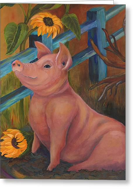 The Better Life - Pig Greeting Card by Debbie McCulley