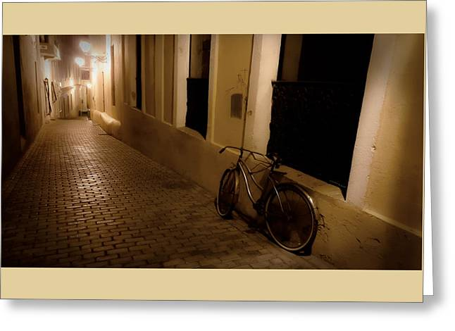 Greeting Card featuring the photograph The Bicycle And The Brick Road by DigiArt Diaries by Vicky B Fuller