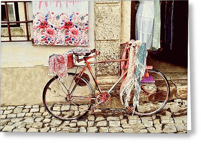 The Bicycle As Display  Greeting Card