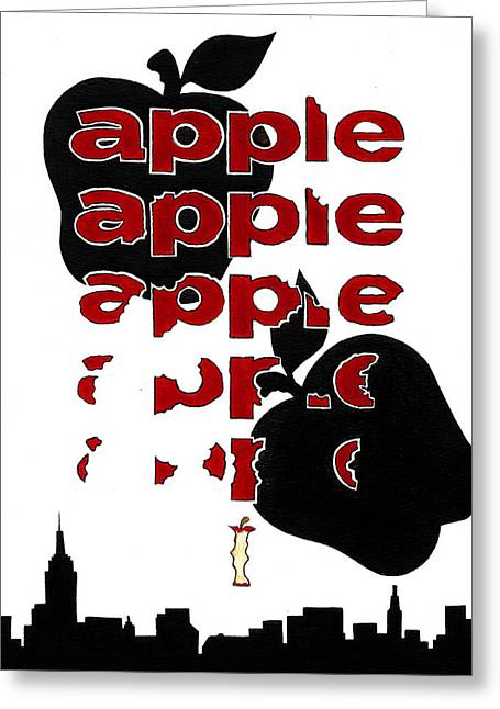 The Big Apple Rotten Apple Greeting Card by Turtle Caps